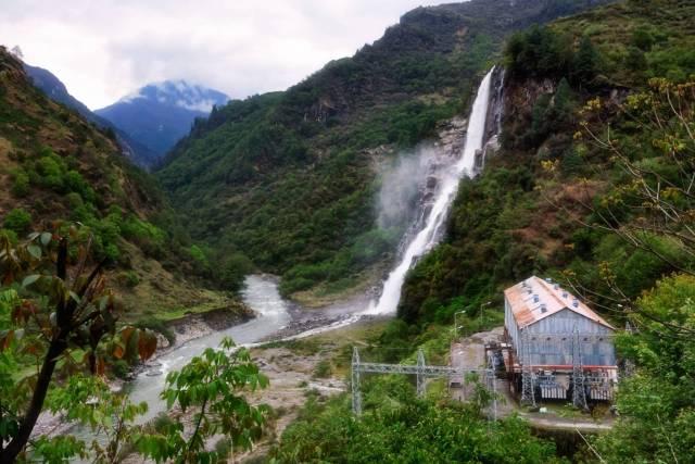 Nuranang Falls empties into the Tawang Chu