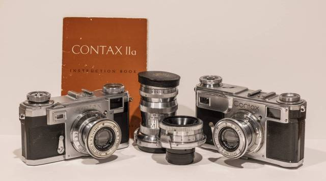 Eli's Contax Cameras, with wide angle and telephoto lenses