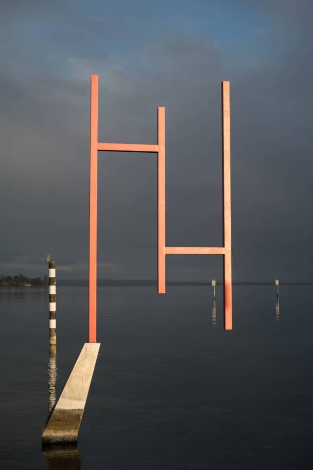 """This is my favourite of Kunstgrenze (""""art border""""), this highly acclaimed piece of Land Art; visited by many tourists from abroad and mostly ignored by the locals. The easternmost element (""""The Magician"""") stand inside Lake Constance, only to be continued by signposts for fishermen and sailors. Konica M-Hexanon on Leica SL."""