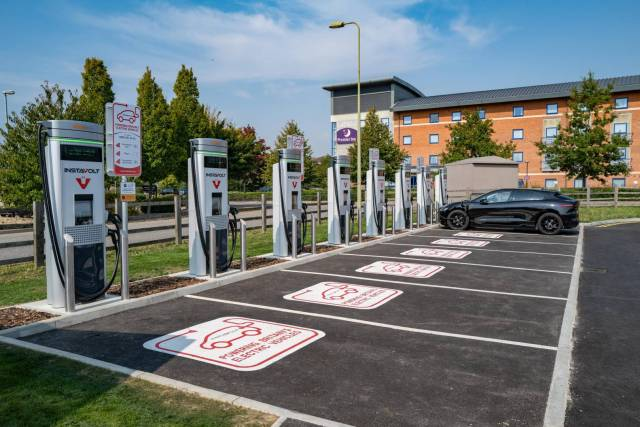 The shape of things to come: Thios Instavolt station is just off the M40 at Banbury. But, really, it should be at the motorway services alongside the similar offering from Tesla.