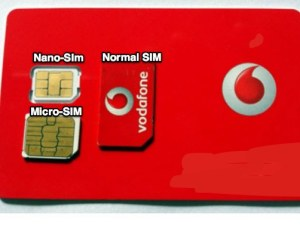 Normal, nano and micro SIM cards compared