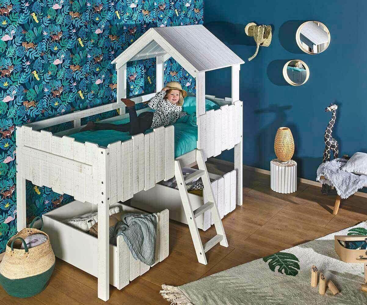 lit enfant cabane avec matelas swam