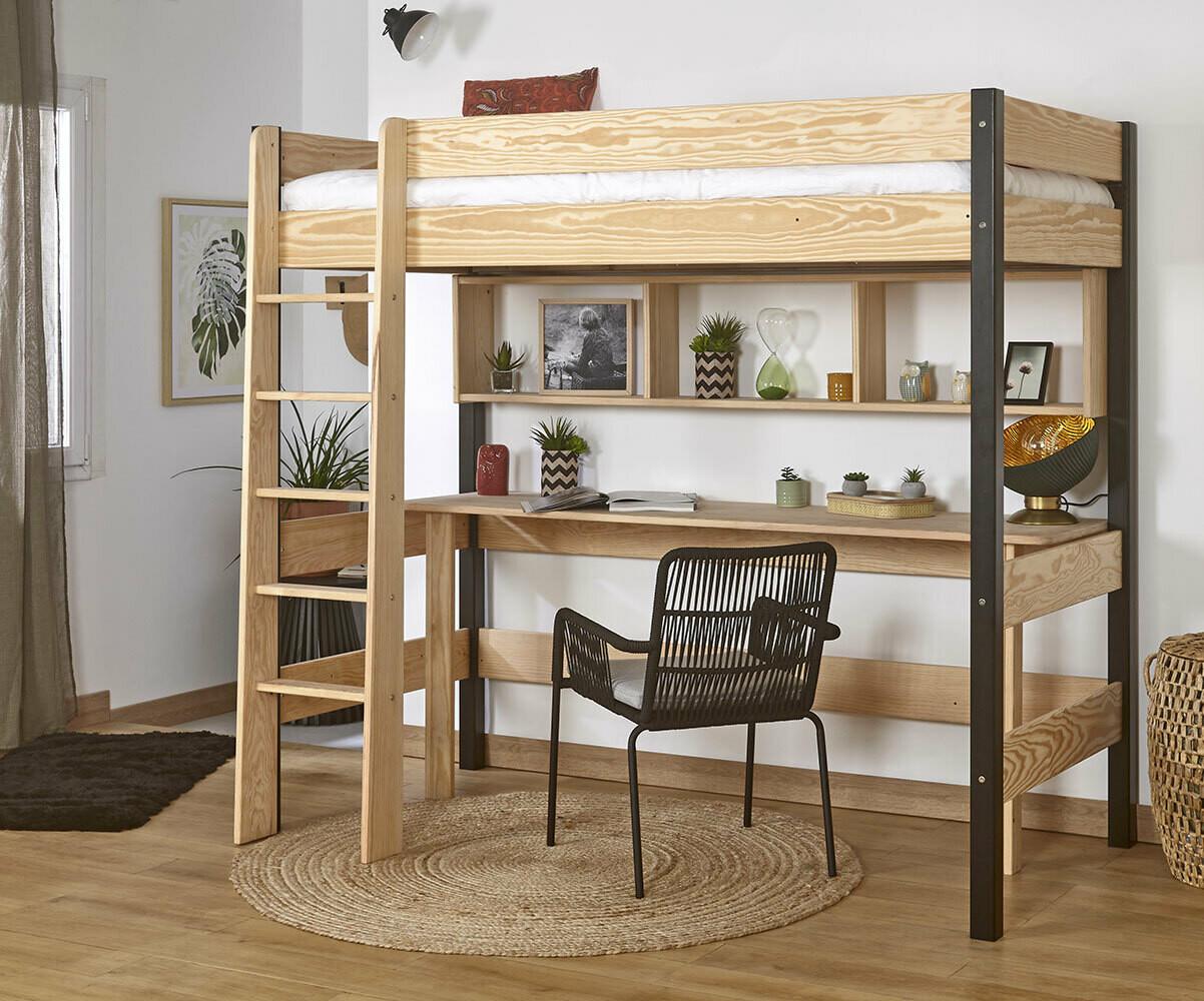 lit enfant mezzanine avec matelas clay