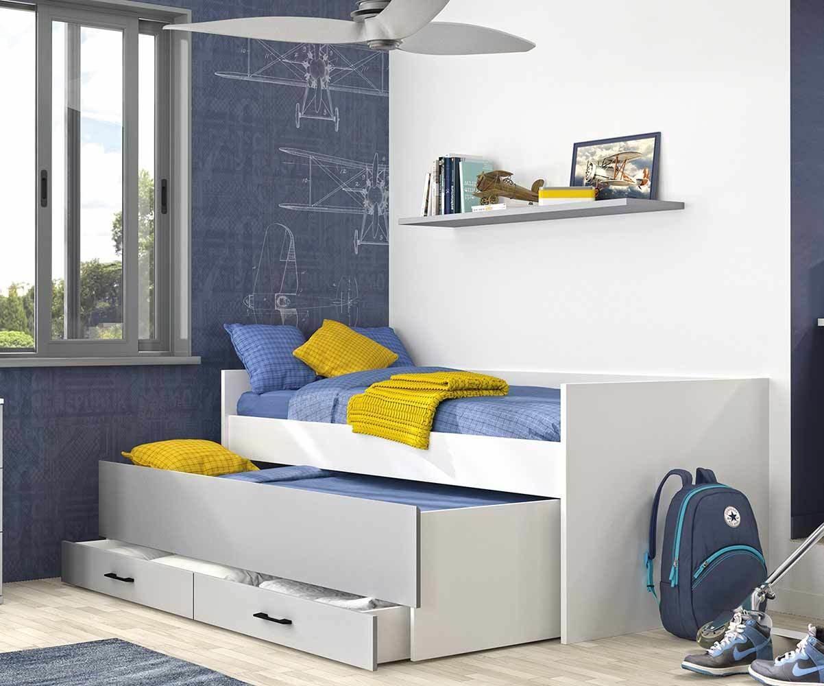 lit enfant gigogne avec rangements et 2 matelas ezio