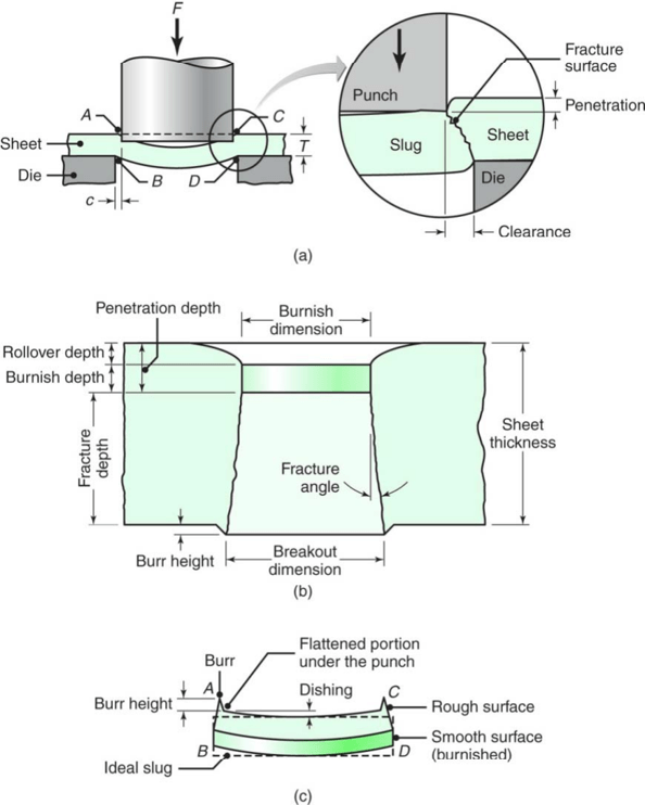 Schematic illustration of shearing with a punch and die