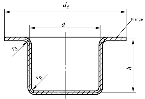 Drawing process calculation of flanged cylindrical parts
