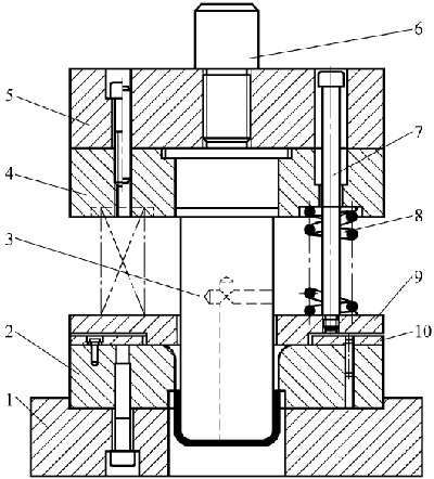 First formal drawing die with blank holder