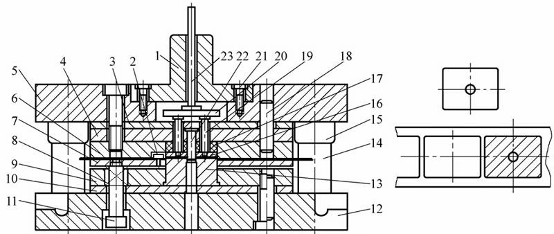 Inverted composite die with rigid-elastic pusher device