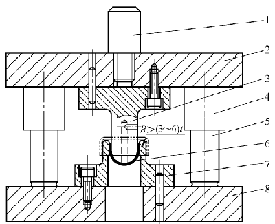 Reverse drawing die without blank holder