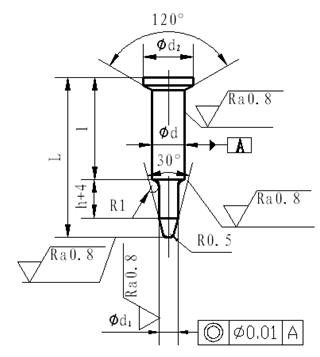 Structure and fixing method of standard A type guide pin