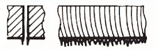 Both sides have long irregular filamentous burrs, which are difficult to remove
