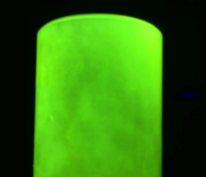 Effect of fluorescent coating on the surface of parts