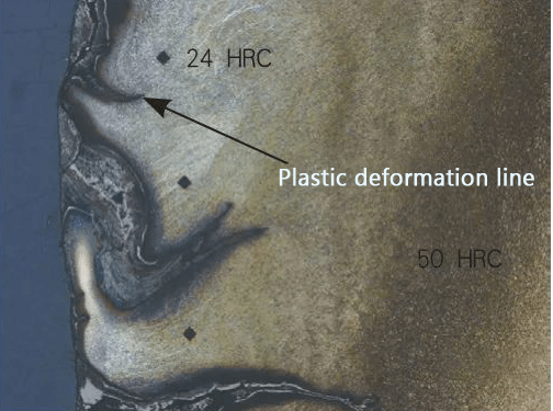 Topographic features of plastic deformation in hot forging die