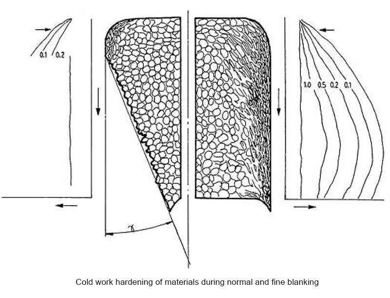 Cold hardening during fine blanking