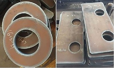 Using circular arcs to lead to cut parts