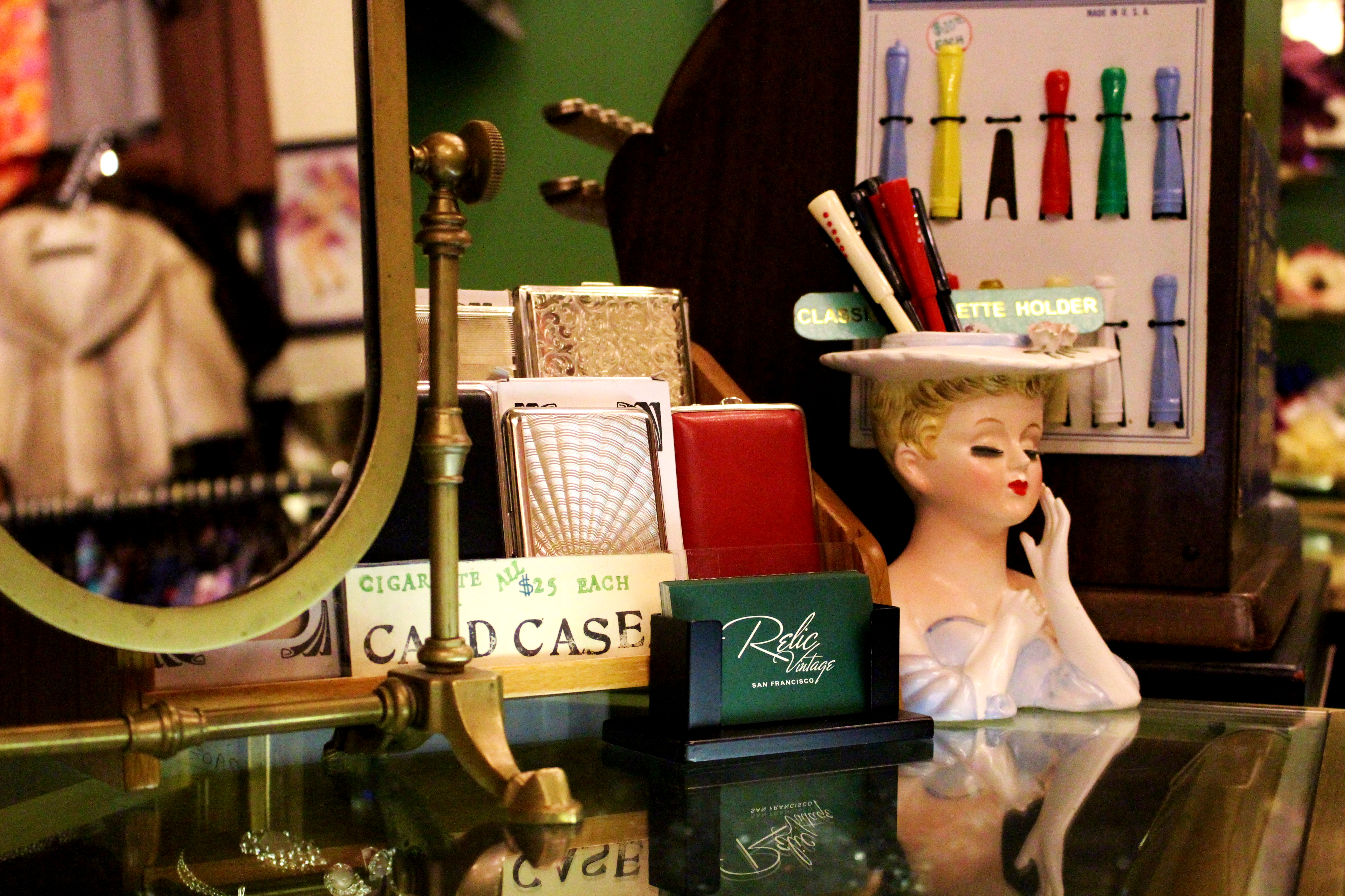 A collection of vintage objects are displayed. Credit: Fiona Belk / M-A Chronicle.