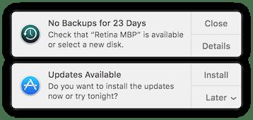 Time Machine backup warning in OS X