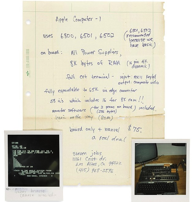 Invenduto un vecchio documento scritto da Steve Jobs messo all'asta