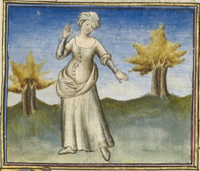 """Cote hardie literally """"daring cote."""" Worn in 1300's and early 1400's. Women's versions were tight-fitting outer garments."""