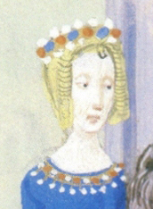 Lady wearing a band of either flowers of jewels, 1389