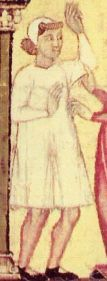 Man in a coif and shirt (camisa) with gussets at the hem, 1200's