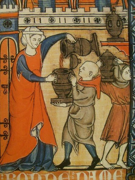 Woman in a cyclas and cote pouring wine for the servants, 1280