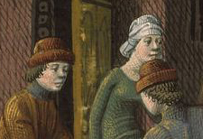 Mwn wearing high brown hats with a brim and woman in a head wrap, c. 1475