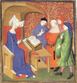 Lady wearing an open sleved surecote talking to a group of men in wide sleeved tunics and robes, c. 1413