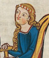 Lady with loose hair and a two colored band around her head
