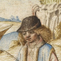 Man wearing a bycoket with long messy hair, c. 1475 - 1480