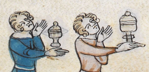 Two men serving the ladies. They both have chin length hair pushed back from the forehead, c. 1300-1340
