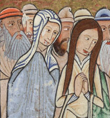 """Two women from """"The Raising of Lazarus"""", folio 11v, detail from the Hunterian Psalter, Glasgow University Library MS Hunter 229 (U.3.2)"""