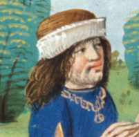 Rich man wearing soft hats with brims folded up. He has shoulder long hair and a beard. 1479