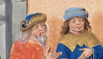 Courtiers wearing hats with brims turned up. 1479