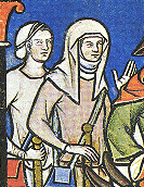 One lady is wearing a wimple and veil, while the other lady is wearing a cap. From the Morgan Bible, c. 1250
