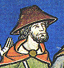 Man wearing a wide brimed hat - it looks like it might be a straw hat, c. 1250