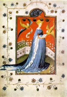 """Woman wearing a houppelande with """"dagged"""" sleeves. c. 1415 Maria d'Harcourt et d'Aumale, wife of Reinald IV, Duke of Guelders and Jülich, in a houppelande, fol 19 of the Breviary of Marie de Gueldres"""