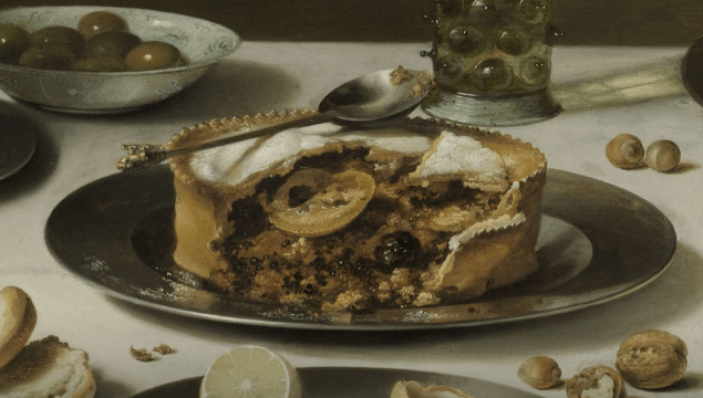 """Detail from the painting """"Still Life with a Turkey Pie"""", Pieter Claesz., 1627. Here we have some kind of fruit pie with what looks like blackberries."""