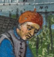 Man working the wine wearing a beret or possibly a skull cap, c. 1485