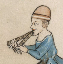 Musician in a bowl shaped hat. c. 1325-1340