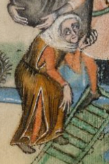 Elderly woman wearing a cote, head scarf and a cyclas, c. 1325-1340