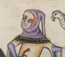 Hunter in a capuchon hood with a long liripipe, c. 1325-1340