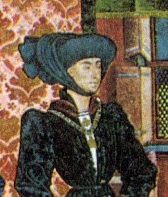 Philip the Good, Duke of Burgundy, wears an elaborately draped chaperon with a black-on-black figured silk short overgown with width at the shoulder, , c. 1447