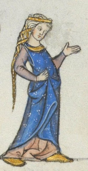 Lady wearing a beautiful blue cyclas over a cote. Her hair is braided with a cloth band wrapped around it. late 1200's