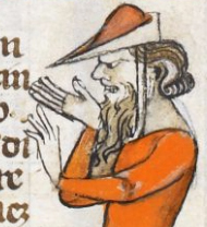 Bearded man wearing a bycocket, c 1300-c 1340