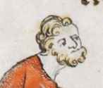 Man with curly hair and beard, c 1300 - 1340