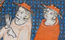 Men in red wide brimmed hats, c 1300-1340
