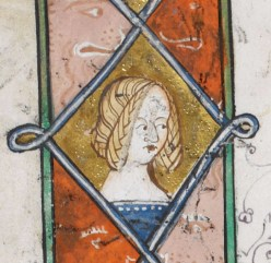 Lady with interesting hairstyle, c 1300-c 1340