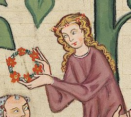 Lady with long hair and a flower band around her hair, c. 1340