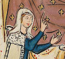 Woman in veil and a circle of fabric under the veil. c. 1300 - 1340